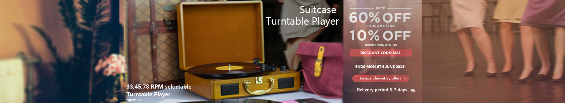 M46, Chargable Briefcase Retro Record Player Bluetooth with speakers