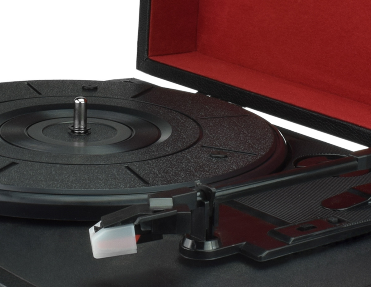 Suitcase Portable 3-Speed Stereo Turntable&FM Radio vinyl record to USB SD Built-in Speakers