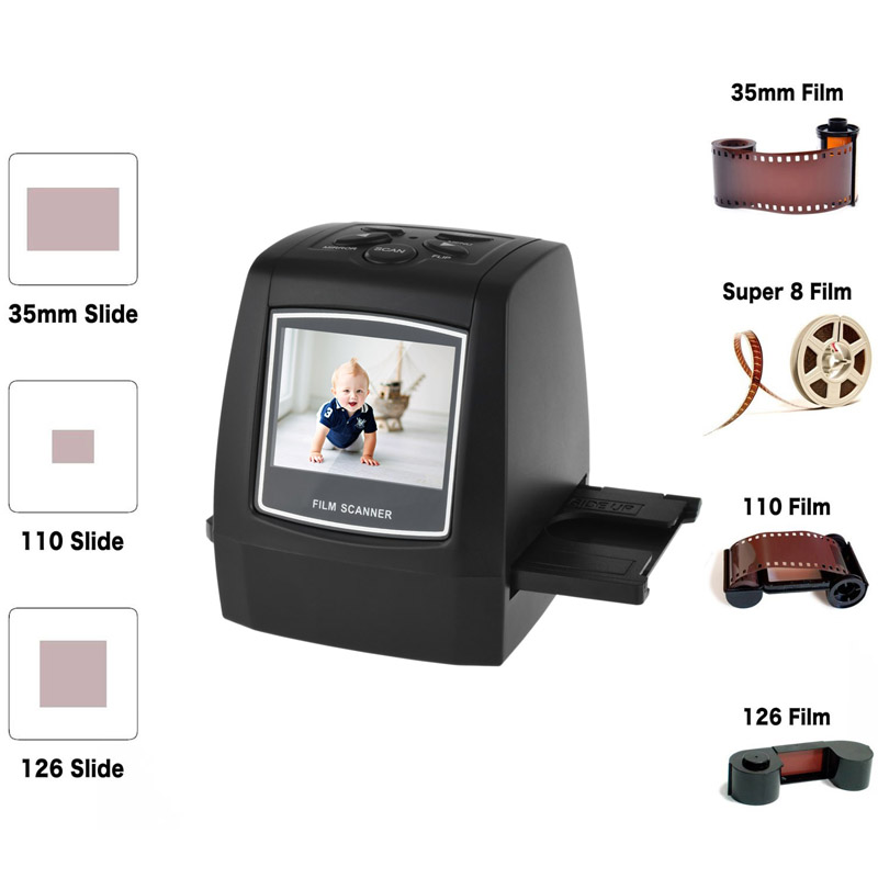 M122, 22MP All-In-1 Film & Slide Scanner w/ Speed-Load Adapters for 35mm Negative & Slides, 110, 126, & Super 8 Films
