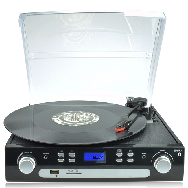 Digitnow! Bluetooth Viny Record Player Turntable, Cassette,Radio and Aux in with USB Port & SD Encoding- Remote Control,Built-in stereo speaker,Stand Alone Music Player ,Audio Built In Amplifier