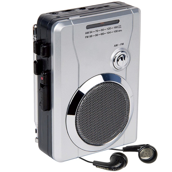 Mini Stereo Audio Retro Personal Cassette Player Wireless AM/FM Radio and Voice Radio Cassette Recorder with Earphones