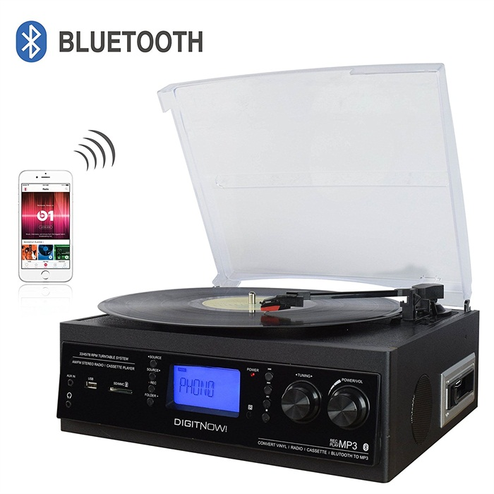 M501, Portable Bluetooth 3 Stereo Speed Turntable with Built in Speakers, Vintage Style Vinyl Record Player, Black