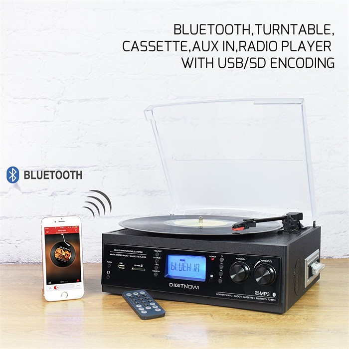 Digitnow Portable Bluetooth 3 Stereo Speed Turntable with Built in Speakers, Vintage Style Vinyl Record Player, Black