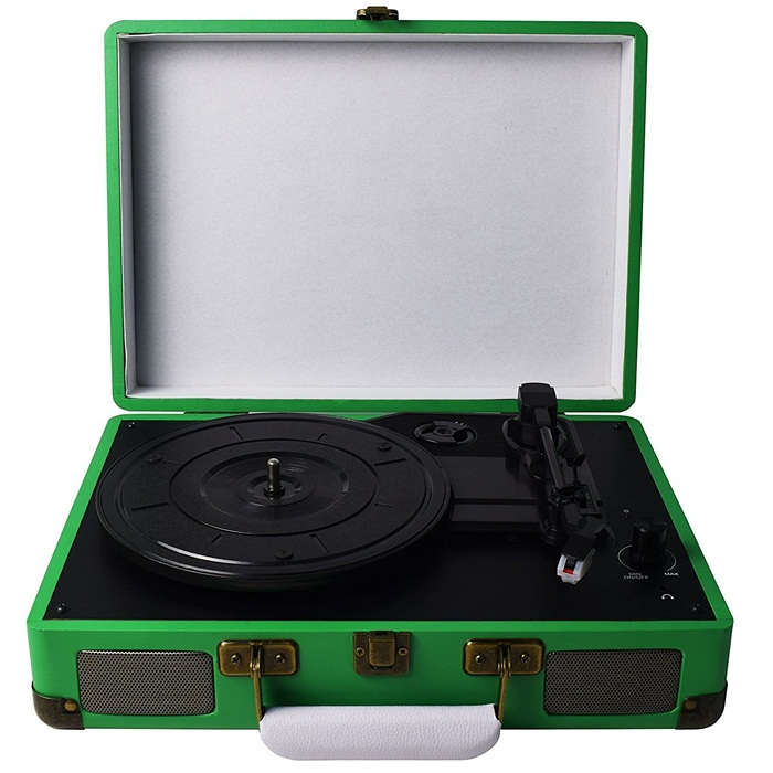 M421, Belt-Drive 3-Speed Portable Vinyl White Turntable with Built-in Stereo Speakers with Headphone Jack