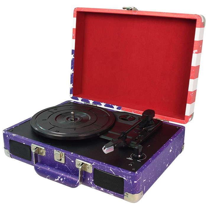 Digitnow Vinyl Record Player with Speakers, USB-Out, & MP3 Audio Recording/Editing Software Portable 3-Speed Vintage Suitcase/Briefcase Turntable( USA Flag Design)