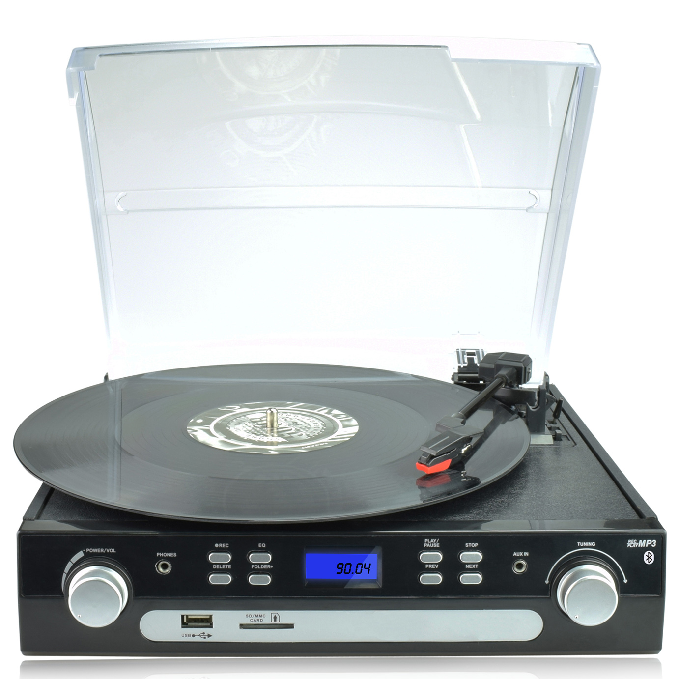 Digitnow Bluetooth Viny Record Player Turntable, Cassette,Radio and Aux in with USB Port & SD Encoding- Remote Control,Built-in stereo speaker,Stand Alone Music Player ,Audio Built In Amplifier