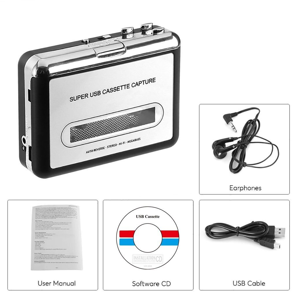 BR602, Cassette Tape To MP3 CD Converter Via USB,Portable USB Cassette Tape Player Capture MP3 Audio Music,Compatible With Laptop and Personal Computer,Convert Walkman Tape Cassette To MP3 Format