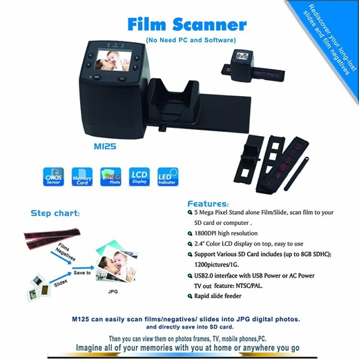 M125, High resolution film scanner convert 35/135mmNegative&Slide to Digital JPEGs and saved to SD card, Using Built-In Software Interpolation with 1800DPI High Resolution-5/10M Photo&Film Scanner
