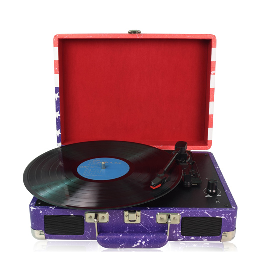 M422, Vinyl Record Player with Speakers, USB-Out, & MP3 Audio Recording/Editing Software Portable 3-Speed Vintage Suitcase/Briefcase Turntable( USA Flag Design)