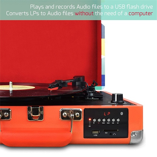 M46, Chargable Briefcase Retro Record Player Bluetooth with speakers for vinyl,Vinyl-to-MP3 Recording, FM Radio and Aux in with USB Port & SD Encoding