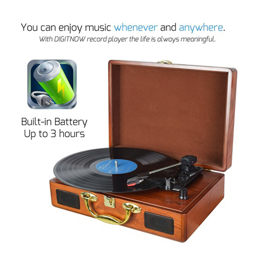 M431, Natural LP rechargeable Turntable with Wooden case,suitcase turntable ,Turntable player with PC recording function