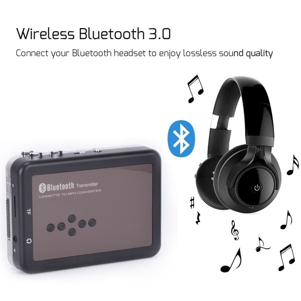 BR636B Portable Digital Bluetooth Cassette Audio Music Player Tape-To-MP3 Converter and Cassette Recorder with Earphones