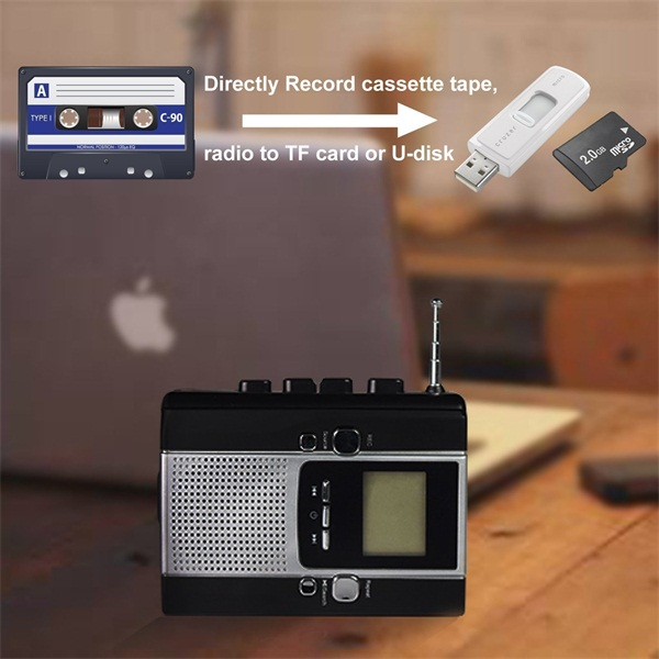 BM001-US Portable Radio Cassette Recorder, Cassette Tape to Mp3 Converter and Radio to Mp3 Recorder with Voice Recording Feature, Used As a walkman
