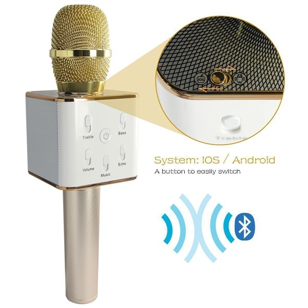 K102, Mini Wireless Handheld Microphone&Speaker Portable Cellphone Karaoke Stereo Gold Player Bluetooth with Phones/iphone/ipad Computer for Home KTV,Outdoor Party, KTV Concert,Singing, Recording