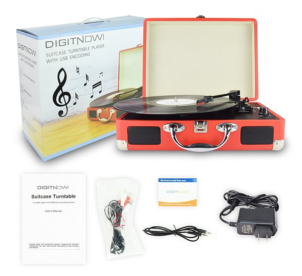 M413, 3 Speed Portable Stereo Turntable with Built in Speakers,Support RCA Output,Aux Input,Headphone Jack,USB Vinyl To MP3 Record Player,No Need Pc,No need software