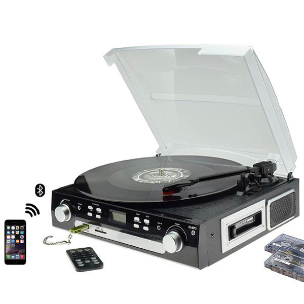 M36, Victrola Portable Record Player Bluetooth for Vinyl,Cassette,Radio and Aux in with USB Port and SD Encoding,with Built in Stereo Speakers(Please Note:Long Press Around 5 Seconds To Power on)