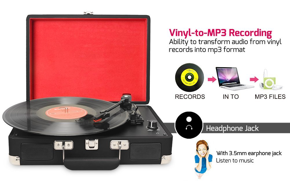 Turntable Record Player 3speeds with Built-in Stereo Speakers USB RCA Output MP3