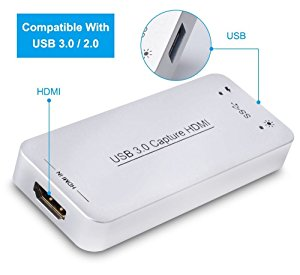DIGITNOW USB 3.0 Video Capture Dongle Adapter Card,HDMI To USB 3.0 Live Streaming Game Capture Device for PS4 Xbox One 360, Full HD 1080p 60FPS,Drive-Free Compatible with Linux /Mac OS/ windows1