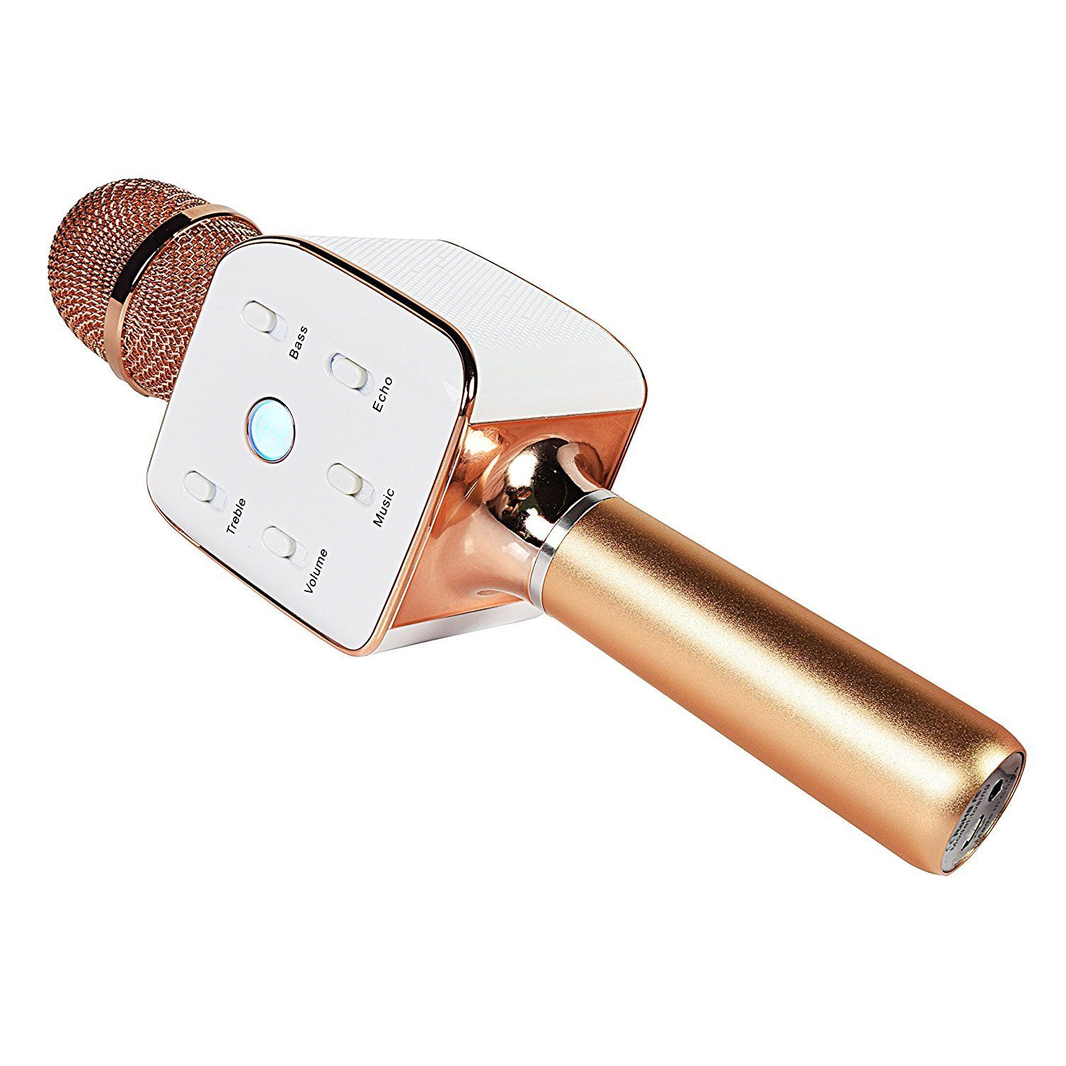 DIGITNOW Wireless Karaoke Player Portable Handheld Rose Golden Microphone Built-in Bluetooth Speaker Machine for Home KTV Singing Support Iphone Android Smartphone Ipad PC