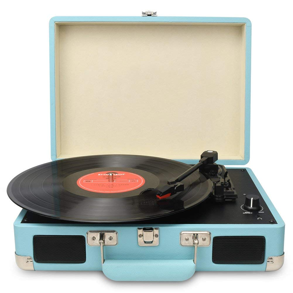 DIGITNOW!Vintage Turntable,3 Speed Vinyl Record Player-Suitcase/Briefcase Style with Built-in Stereo Speakers, Supports USB/RCA Output/Headphone Jack / MP3 / Mobile Phones Music Playback (Blue)
