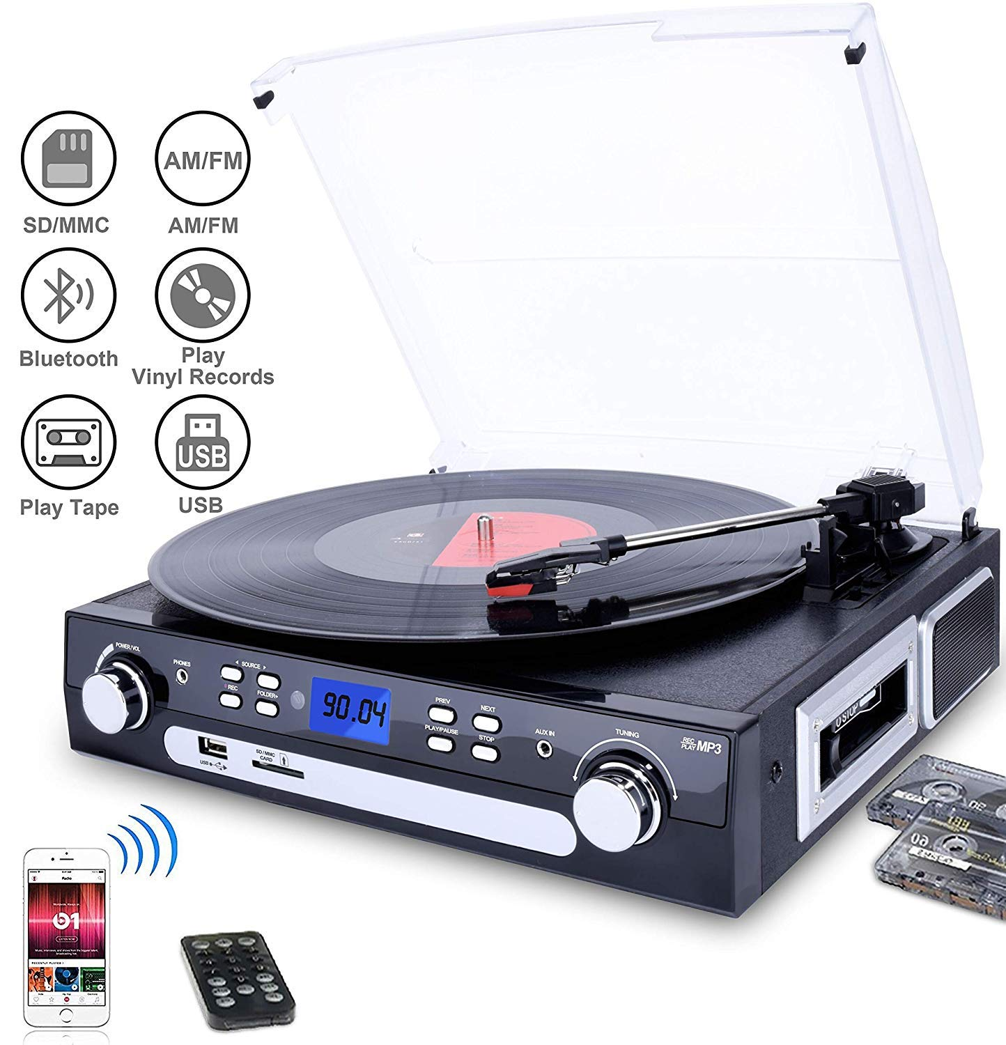 DIGITNOW Vinyl/LP Turntable Record Player, with Bluetooth,AM&FM Radio, Cassette Tape, Aux in, USB/SD Encoding & Playing MP3/ Built-in Stereo Speakers, 3.5mm Headphone Jack,Remote and LCD