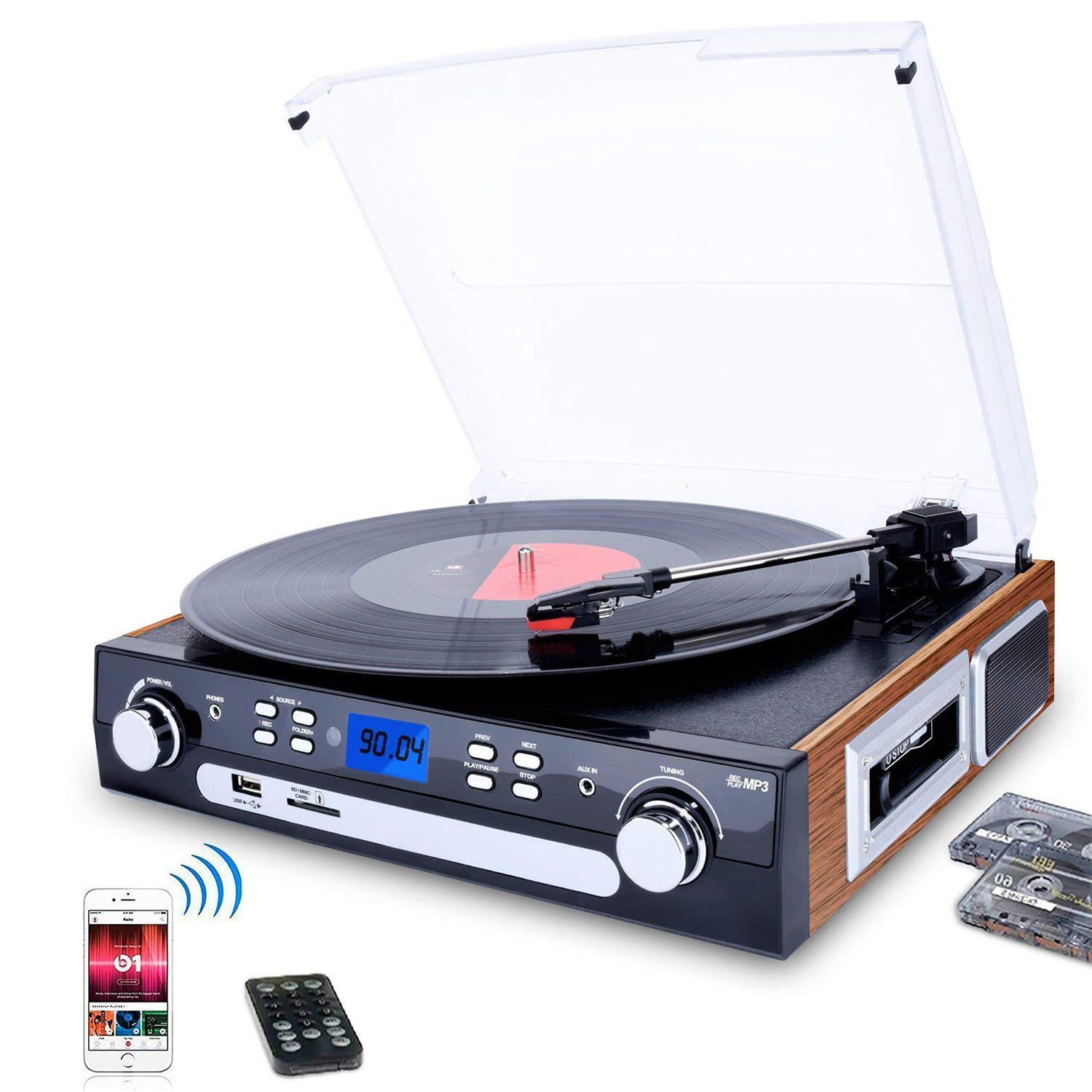 DIGITNOW! Bluetooth Record Player with Stereo Speakers, Turntable for Vinyl  to MP3 with Cassette Play, AM/FM Radio, Remote Control, USB/SD Encoding,