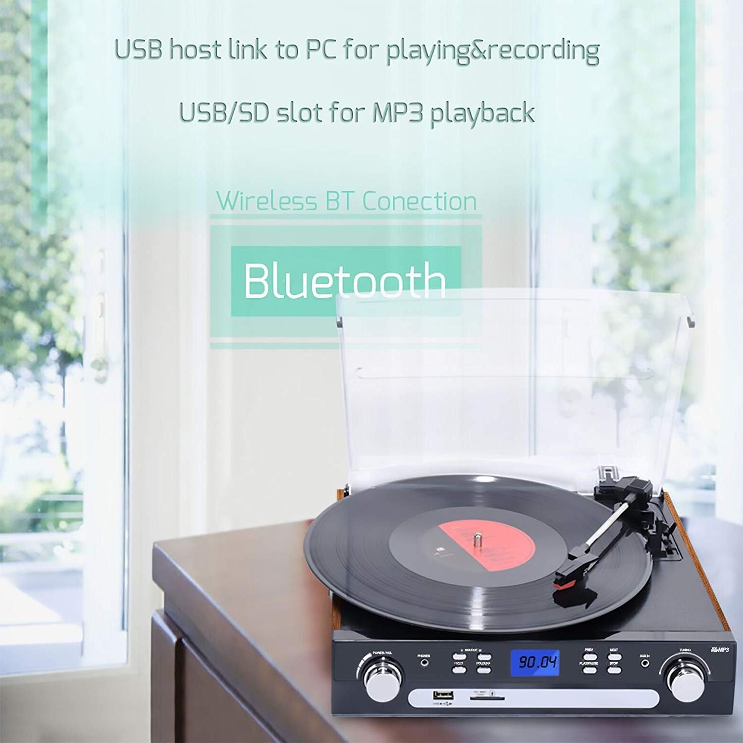 DIGITNOW! Bluetooth Record Player with Stereo Speakers, Turntable for Vinyl to MP3 with Cassette Play, AM/FM Radio, Remote Control, USB/SD Encoding, 3.5mm Music Output Jack