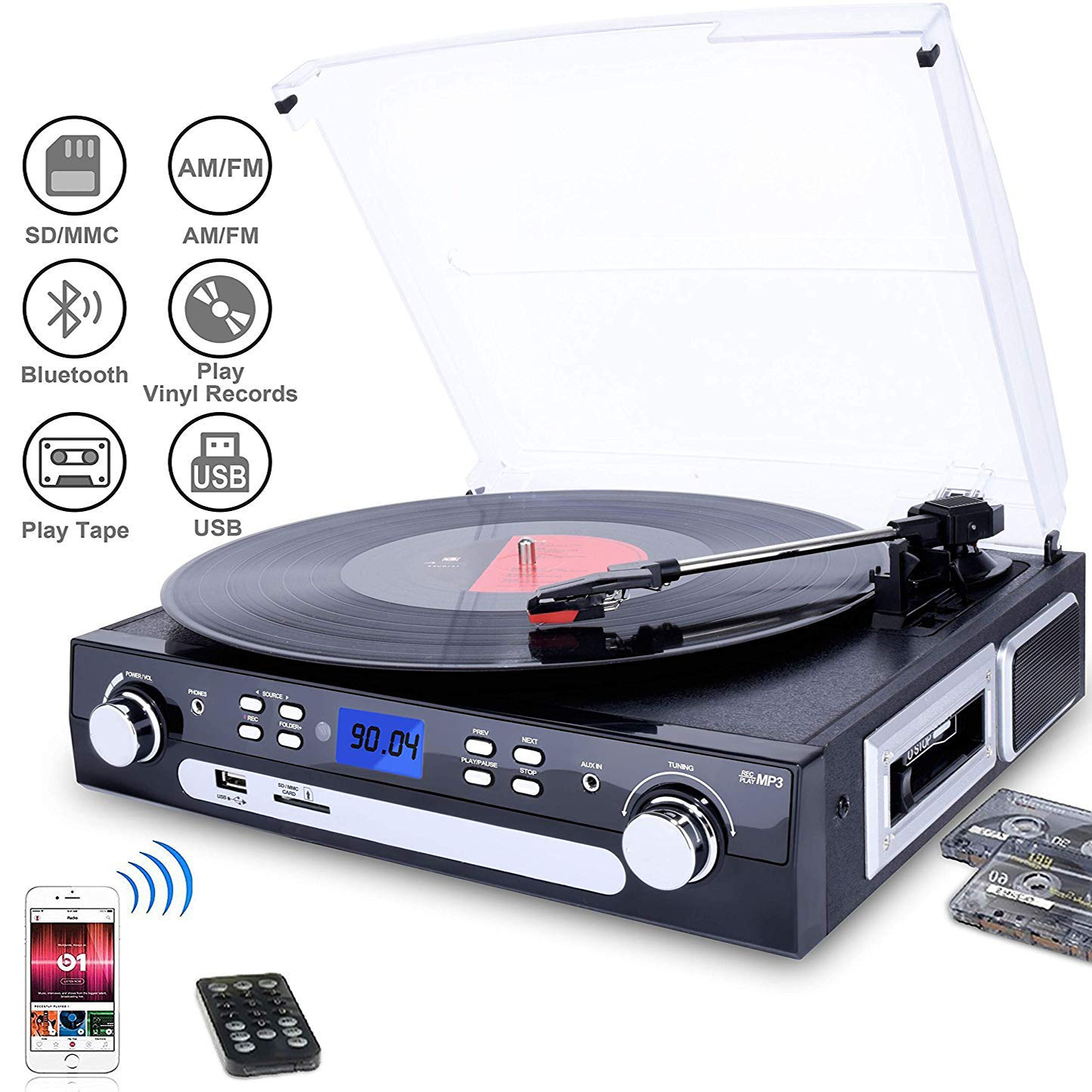 M36 DIGITNOW Vinyl/LP Turntable Record Player, with Bluetooth,AM&FM Radio, Cassette Tape, Aux in, USB/SD Encoding & Playing MP3/ Built-in Stereo Speakers, 3.5mm Headphone Jack,Remote and LCD