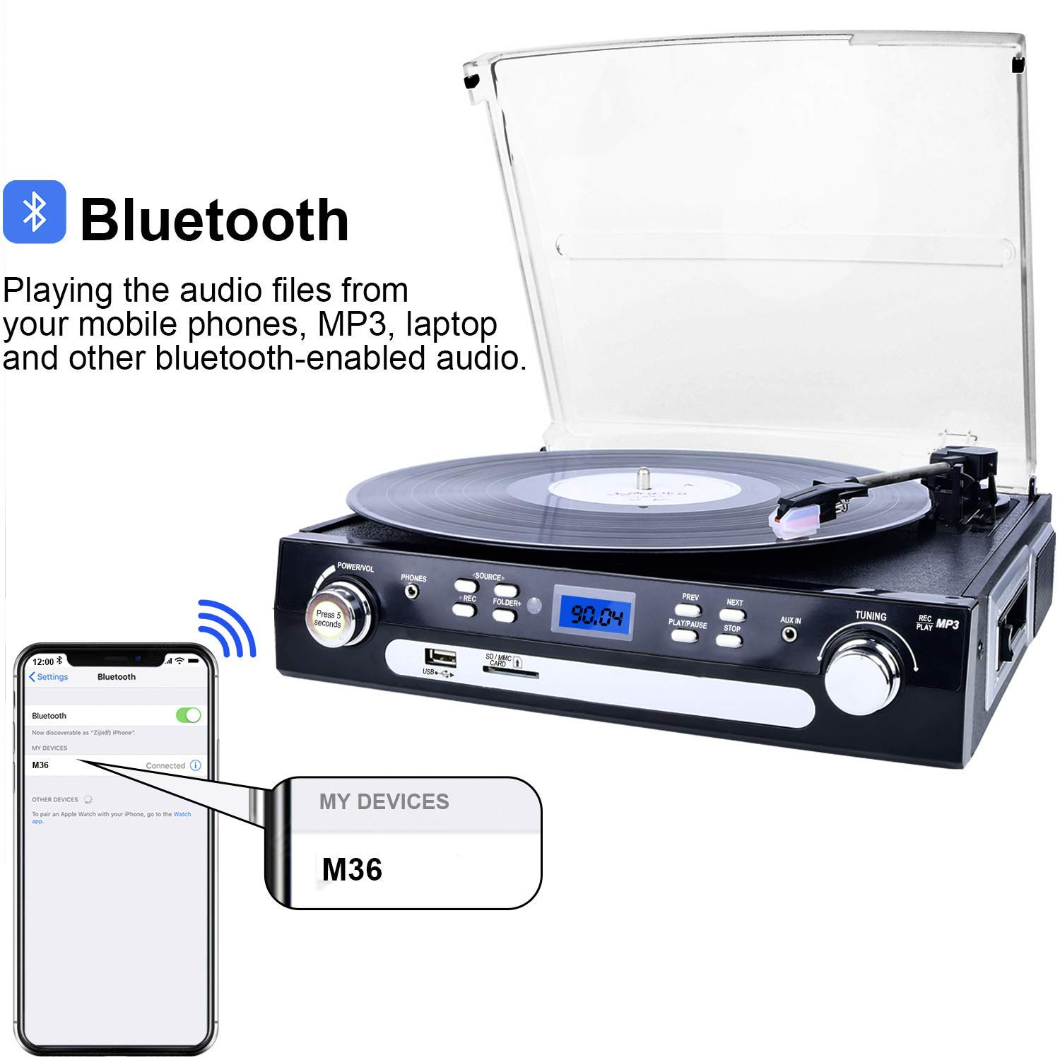 DIGITNOW Vinyl/LP Turntable Record Player, with Bluetooth,AM&FM Radio,  Cassette Tape, Aux in, USB/SD Encoding & Playing MP3/ Built-in Stereo  Speakers,