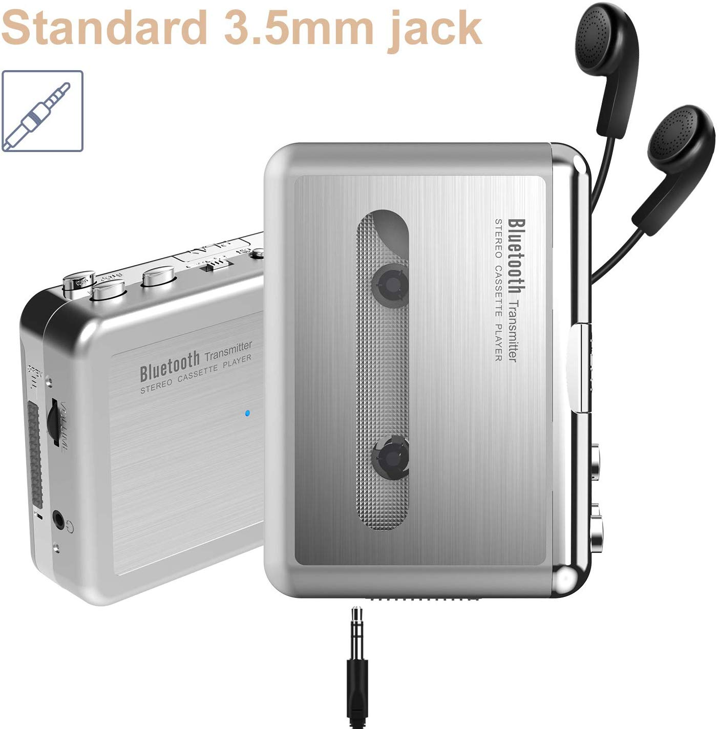 BR636B DIGITNOW! Bluetooth Walkman Cassette Player Bluetooth Transfer Personal Cassette, 3.5mm Headphone Jack and Earphones Included