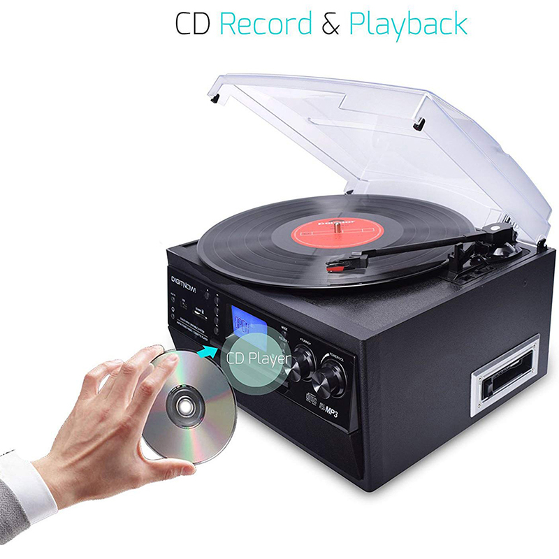 M504 DIGITNOW Bluetooth Record Player Turntable with Stereo Speaker, LP Vinyl to MP3 Converter with CD, Cassette, Radio, Aux in and USB / SD Encoding, Remote Control, Audio Music Player Built in Ampli