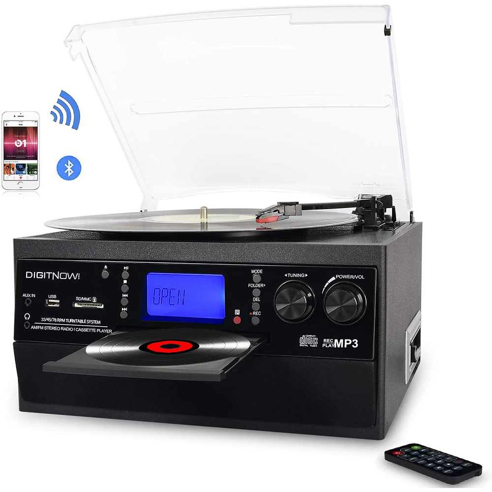 M503 DIGITNOW Bluetooth Record Player Turntable with Stereo Speaker, LP Vinyl to MP3 Converter with CD, Cassette, Radio, Aux in and USB/SD Encoding, Remote Control