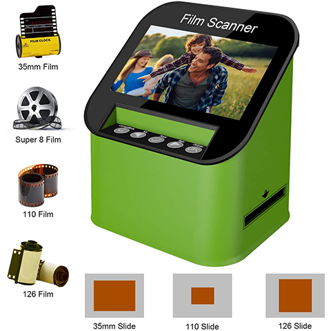 FS198  Film Scanner with 22MP High Resolution Slide Scanner Converts 35mm, 110 & 126 and Super 8 Films, Slides and Negatives to JPEG Includes 4.3 Inch TFT LCD Display