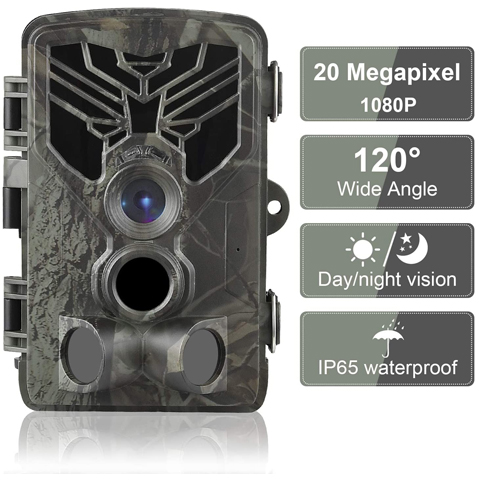 BR696 Trail Camera 20MP 1080P Waterproof Game Hunting Scouting Camera for Wildlife Monitoring with 44pcs IR LED
