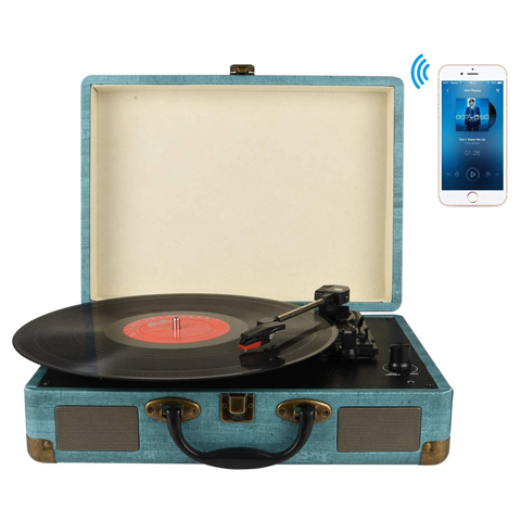 M435 Digitnow Record Player 3-Speed Bluetooth Suitcase Turntable with Stereo Speakers, RCA Output, Aux Input and Headphone Jack