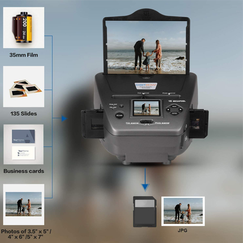 "DIGITNOW All-in-One High Resolution 16MP Film Scanner, with 2.4"" LCD Screen Converts 35mm/135slides&Negatives Film Scanner Photo, Name Card, Slides and Negatives for Saving Films to Digital Files"