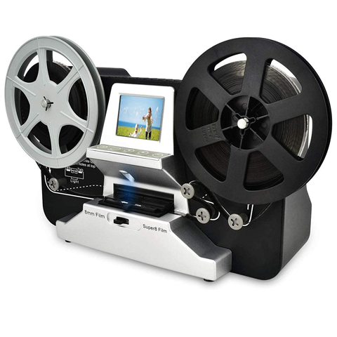 "8mm & Super 8 Reels to Digital MovieMaker Film Scanner Converter, Pro Film Digitizer Machine with 2.4"" LCD, Black (Convert 3 inch and 5 inch 8mm Super 8 Film reels into Digital) with 32 GB SD Card"