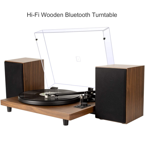 DIGITNOW Bluetooth Record Player Wireless Turntable HiFi System Wooden Bluetooth Turntable Converter with Counter Weight, Audio Music Player with Twin Detachable Speakers