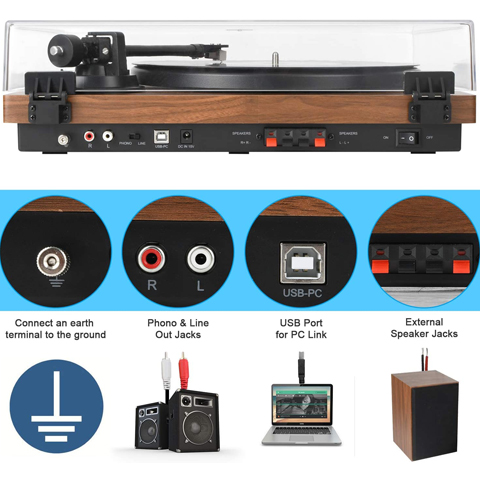 M66 DIGITNOW Bluetooth Record Player Wireless Turntable HiFi System Wooden Bluetooth Turntable Converter with Counter Weight, Audio Music Player with Twin Detachable Speakers