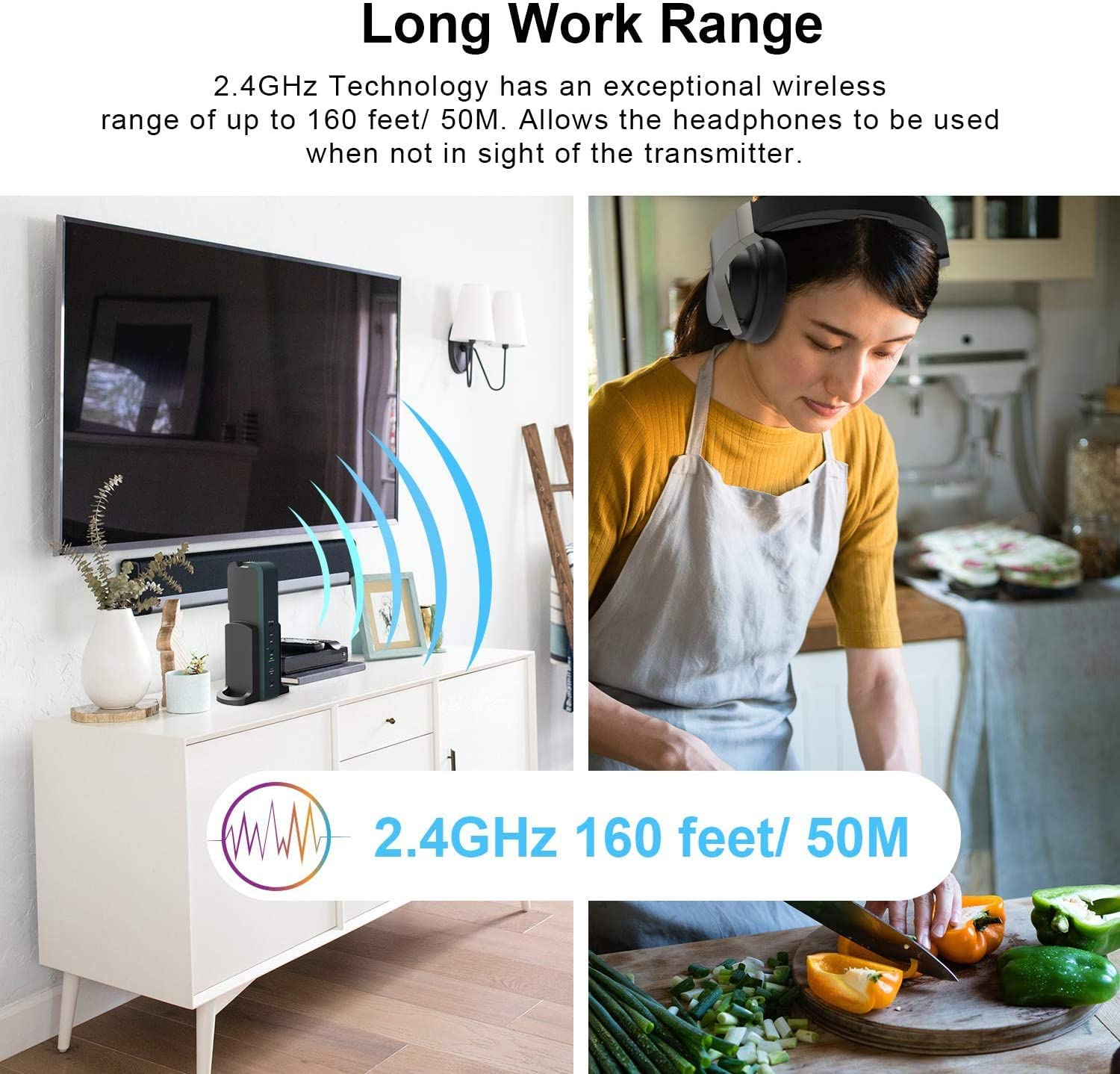 Rybozen Wireless Headphones for TV Watching with 2.4G Digital RF Transmitter Charging Dock, Hi-Fi Over-Ear Cordless Headset with Optical/RCA/3.5MM Ports, for Watching Home Television Game Computer