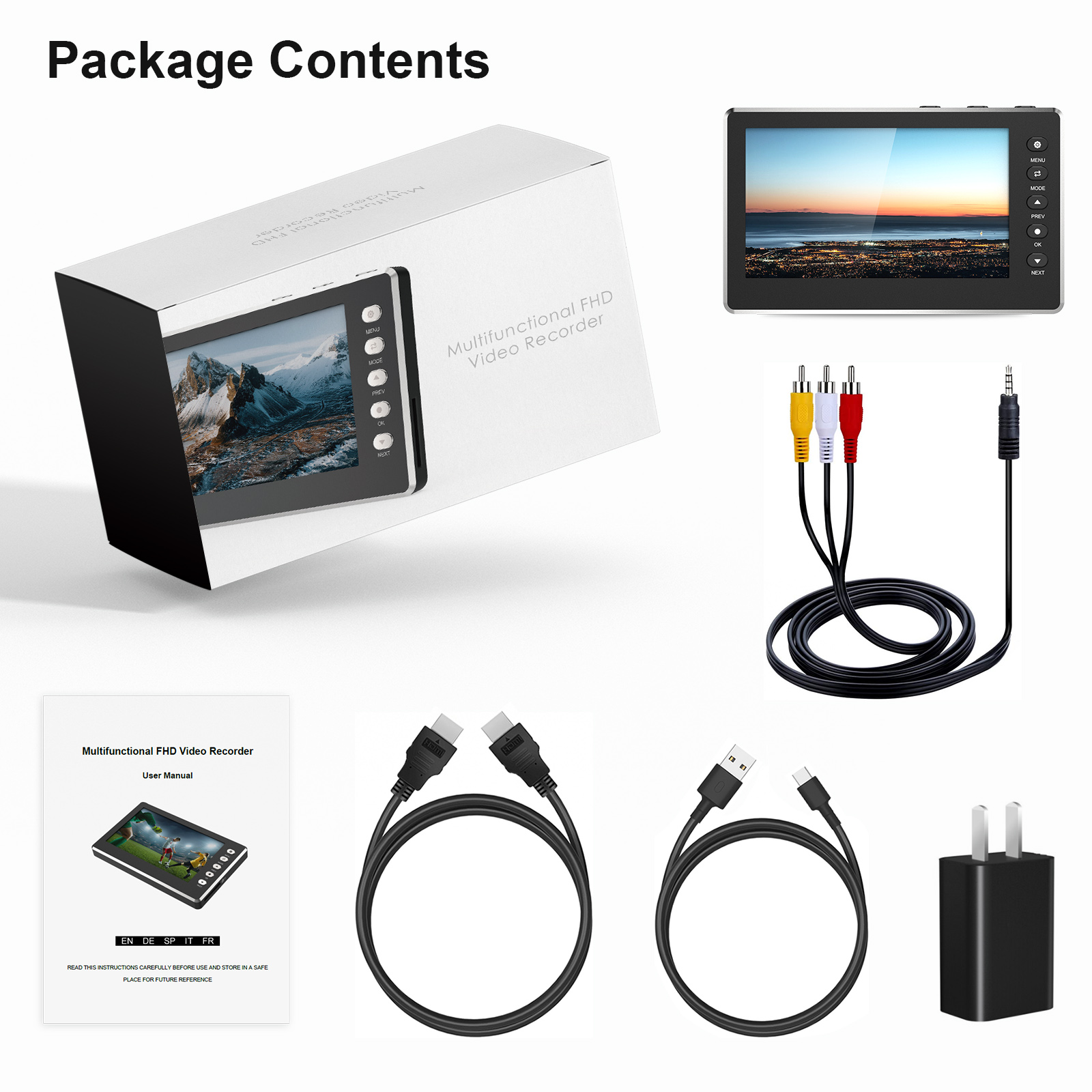 "DIGITNOW HD Video Capture Box 1080P 60FPS USB 2.0 Video to Digital Converter with 5"" OLED Screen, AV&HDMI Video Recorder Capture from VCR, DVD, VHS Tapes, Hi8, Camcorders, Gaming Systems"