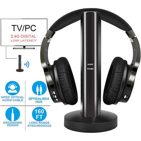 Rybozen Wireless TV Headphones with 2.4G Digital RF Transmitter, Hi-Fi Over-Ear Cordless Headset with RCA / 3.5MM / Optical Port, for Watching Home TV Game Computer Television