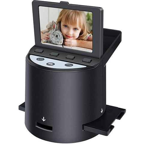 "DIGITNOW Digital Film Scanner with 22MP, Converts 35mm, 126, 110, Super 8 Films, Slides, Negatives to JPEG, Tilt-Up 3.5"" LCD, Includes Cables, Film Inserts&More, MAC and PC Compatible"